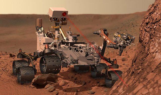 Foto del robot explorador espacial Curiosity en Marte