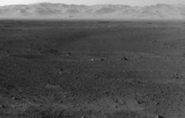 Foto panorámica sacada por el robot espacial Curiosity Mars Science Laboratory MSL en el planeta Marte