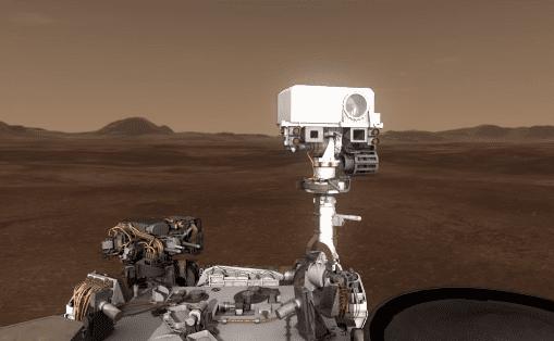 Robot explorador rover Curiosity de la NASA sacando imagenes en el Planeta Marte